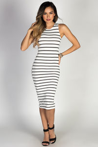 """Nautical Chic"" White & Black Striped Sleeveless Bodycon Jersey Midi Dress image"