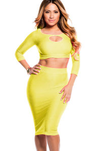 """""""Jasmine"""" Highlighter Neon Yellow Reversible Cut Out Crop Top and Midi Skirt Set image"""