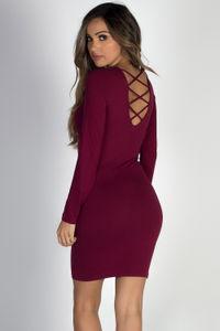 """""""Sweet Emotion"""" Burgundy Long Sleeve Cage Back Dress image"""