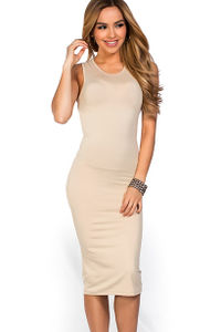 """Kiara"" Nude Sleeveless Casual Bodycon Midi Dress image"
