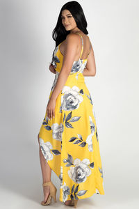 """Rockin' That Thang"" Yellow Floral Print High-Low Dress image"