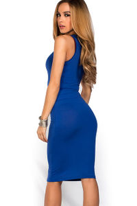 """Kiara"" Royal Blue Sleeveless Casual Bodycon Midi Dress image"