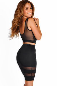 """Zara"" Black Sheer Mesh Two Piece Dress image"