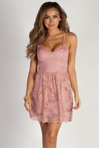 """Me Time"" Blush Floral Lace Skater Dress image"