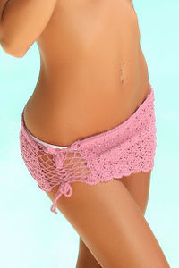 Tequila Sunset Pink Mini Crochet Beach Skirt Cover Up image