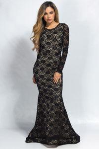 """Teresa"" Black Lace Long Sleeve Open Back Mermaid Maxi Gown image"