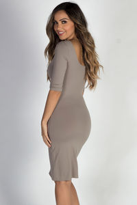 """Back to You"" Taupe 3/4 Sleeve Boat Neck Scoop Back Midi Dress image"