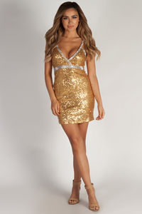 """""""Doin' Numbers"""" Gold & Silver Sequin Cocktail Party Dress image"""