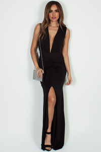 """Deep End"" Black Ruched Maxi Gown w/ High Front Slit image"