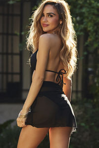 Martini Black Short Mesh Wrap Sarong Bikini Cover Up image