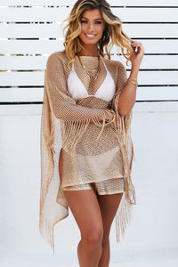 Illustrious Metallic Gold Knit Crochet Fringed Crop Poncho image