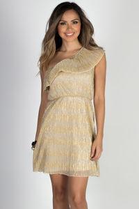 """""""Midas Touch"""" Gold Metallic Crinkle Chiffon Ruffle Dress image"""