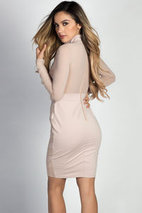 """""""Chastity"""" Taupe Mockneck Long Sleeve Chevron Mesh Cut Out Dress image"""