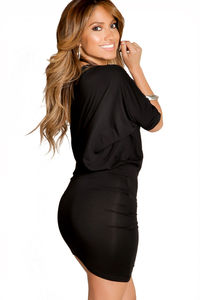 """""""Courtney"""" Black Sexy Off the Shoulder T-Shirt Dress image"""