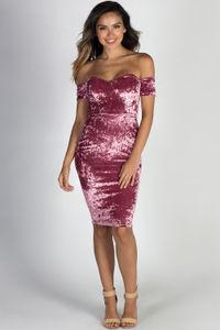 """""""La Dolce Vida"""" Rose Crushed Velvet Off Shoulder Open Back Midi Cocktail Dress image"""