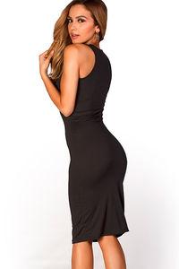 """Kiara"" Black Sleeveless Casual Bodycon Midi Dress  image"
