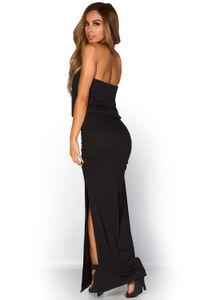 """Venitra"" Black Draped Casual Strapless Tube Top Maxi Dress image"