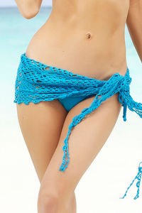 Cuba Libre Turquoise Mini Crochet Sexy Sarong Beach Cover Up image
