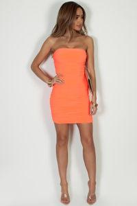 """No Feelings"" Neon Orange Ruched Tube Mini Dress image"