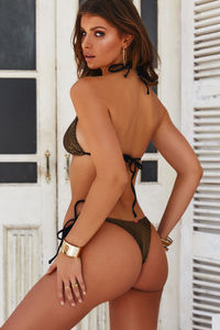 Gold Athena Brazilian Thong Bottoms with Gold Loop Accents image