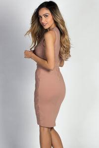 """Cady"" Nude & Gold Studded Sleeveless Mesh Bodice Cocktail Dress image"