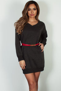"""Cozy Times"" Charcoal V-Neck French Terry Sweater Dress image"