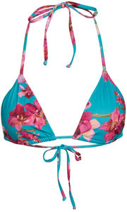 Teal Orchids Print Triangle Top  image
