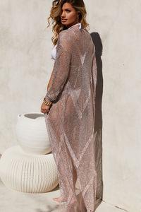 Chevron Rose Gold Metallic Crochet Long Sleeve Maxi Cover Up image