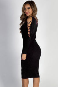 """Holding On"" Black Lace Up Sleeve Sweater Dress image"