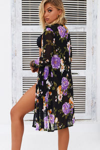 Dragonfly Black Mesh Peony Floral Beach Cover Up image