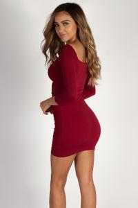 """""""Never Outta Pocket"""" Burgundy Off Shoulder Ruched Long Sleeve Dress image"""