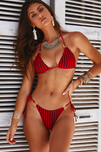 Red Sheer Obsession Triangle Top with Gold Loop Accents image