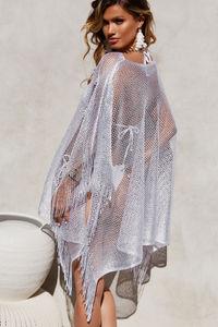Illustrious Silver Fox Metallic Knit Crochet Fringed Poncho image