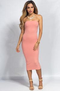 """""""Camella"""" Peach Jersey Bodycon Midi Tube Dress image"""