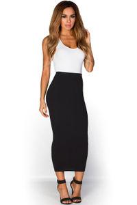 """Holly"" Black Soft Knit High Waisted Midi Pencil Skirt image"
