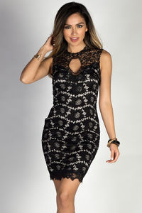 """Riva"" Black Sleeveless Classy Lace Cocktail Dress with Open Back image"
