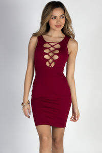 """""""A Little Less Talk"""" Wine Lace Up Bodycon Tank Dress image"""
