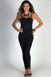 """Runway Baby"" Black Spaghetti Strap Lace Up Waist Skinny Jumpsuit image"