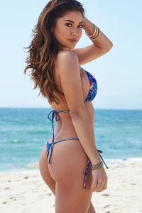 Surfside Midnight Tropical Print Triangle Bikini Top image