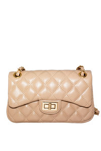 Tan Vegan Leather Diamond Stitch Handbag image