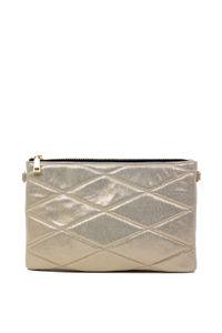 Gold Metallic Quilted Zipper Top Clutch Handbag image