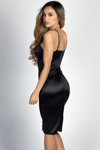 """Alyssa"" Black Satin Bustier Cocktail Dress image"