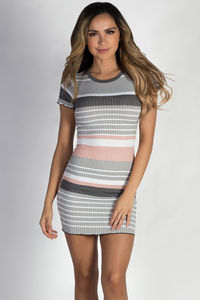 """Varsity Blues"" Grey Striped Short Sleeve Dress image"