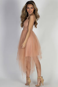 """Hopeless Romantic"" Peach Strappy Lace & Tulle Party Dress image"