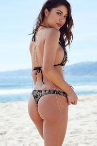 Black & Gold Duchess Print Triangle Bikini Top image