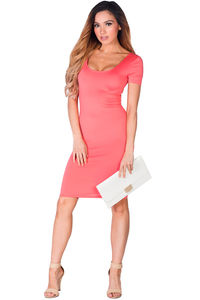 """Prue"" Coral Short Sleeve Jersey Bodycon Casual Dress image"