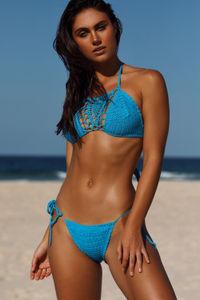 Amaryllis Turquoise Crochet Bandeau Halter Bikini Top image