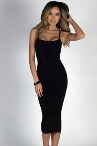 """Angel Heart"" Black Elegant Simple Bodycon Long Midi Dress image"