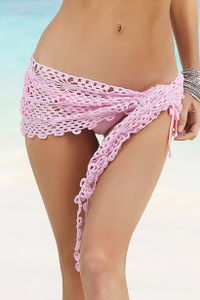 Cuba Libre Baby Pink Mini Crochet Sexy Sarong Beach Cover Up image