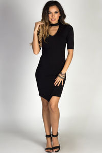 """In the City"" Black Ribbed Half Sleeve Asymmetrical Hem Bodycon Choker Dress image"